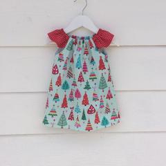 Baby girls Christmas dress, handmade dress, size 12-18 months. Baby girls dress.
