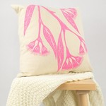 Cushion cover with Gum Blossom print in pink. 40cm square.