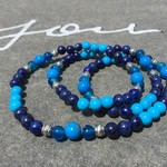 Bright Blue Layered Beaded Bracelet with Blue Agate, Blue Howlite & Lapis Lazuli