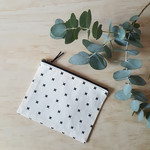 OUMU flat black crosses print zipper pouch, accessory, handmade gifts