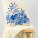 Cushion cover with Succulent Garden print in blue. 40cm square.