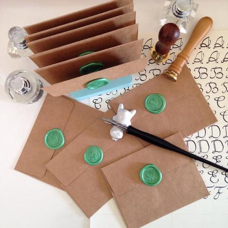 Mini Envelopes with Sea Green wax seal