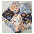 Quilted baby blanket woodland quilt,  Pram blanket, playmat
