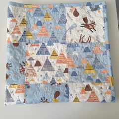 Woodland quilted baby blanket, baby quilt, baby shower gift,