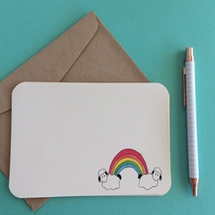 Stationery - Rainbow & Sheep Clouds Notecards (set of 5)