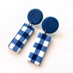 Gingham navy white blue check polymer clay earrings