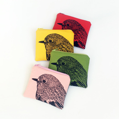 Screen printed robin head coin purse