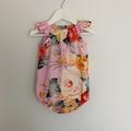 Pretty Seaside playsuit! so sweet. Baby girls romper. Handmade floral baby girls