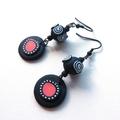 Circles black pink white polymer clay  drop earrings by sasha and max