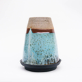 Handmade Ceramic reusable coffee cup with silicone lid - Blue Mist