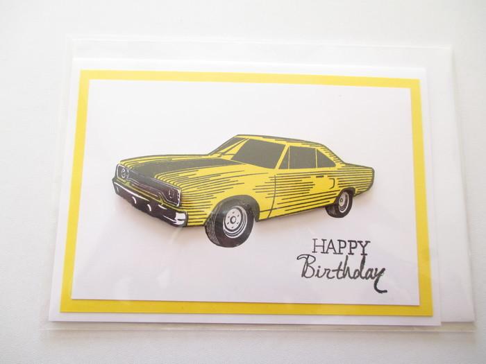 Yellow Car Birthday Card Gaylehere Creations Madeit Com Au