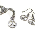 Silver Peace Earrings and Necklace Set
