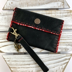 Leather & kimono fabric hand made coin purse /wallet with detachable wrist strap