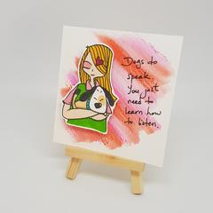 Best Friends Series : Melanie & Bagel Original Ink on Watercolor Paper