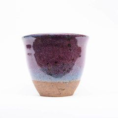 Rustic handmade blue raspberry coffee cup or tumbler