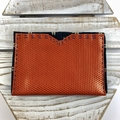 Travel Passport holder in leather and kimono fabric - burnt orange and indigo