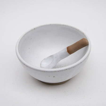 Ceramic condiment bowl and spoon set - rustic handmade matte white