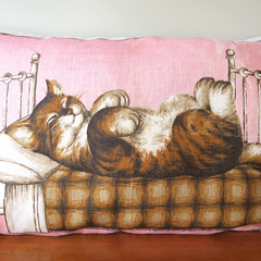 Vintage Retro Tabby Kitty CAT In Bed Pillow / Cushion