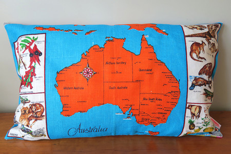 Vintage Retro AUSTRALIA MAP  Cushion / Pillow Case
