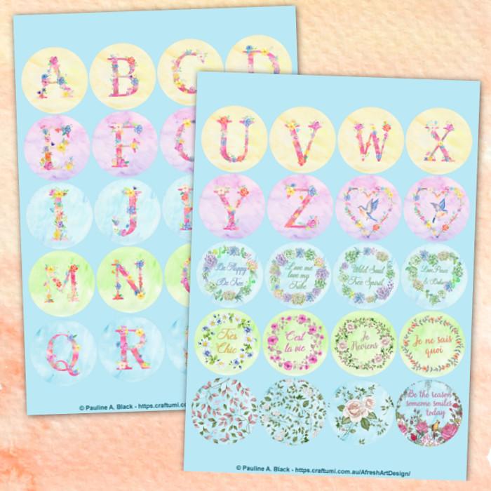 Circular Watercolour Monograms Quotes PDF Printables | Last ...