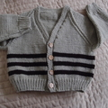 Size 2 - 3 yrs Hand knitted  cardigan in dark brown and camel washable, warm
