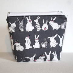 Pouch with flat bottom in Cute Bunny Fabric