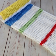 Crochet modern baby blanket | baby shower gift | white yellow blue green red