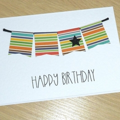 Happy Birthday card - coloured bunting