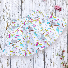 Size 3 Australian animal skirt - koalas, cockatoos and gum leaves FREE POSTAGE