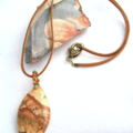 2 Choices: Natural PAINTING JASPER Pendant in Sued Leather Cord Necklace.