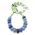 Speckled Egg Ceramic Beads on Kimono Cord - Blue