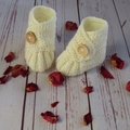Crochet baby booties, stay on newborn boots, pregnancy announcement, gift, cream