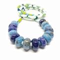 Speckled Egg Ceramic Beads on Kimono Cord - Blue