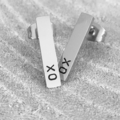 Bar Earrings, Hand Stamped Earrings, Personalised Studs