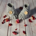 Crochet baby booties, stay on newborn boots, pregnancy announcement, gift, grey