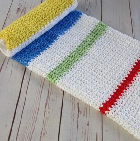 Crochet modern baby blanket | baby shower gift | white yellow blue green red