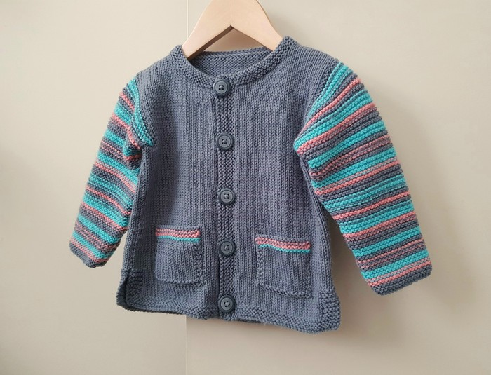 2c781e0ff Grey unisex cardigan for 12 months baby, striking colours for child 1 year  | SnuggleBubs | madeit.com.au