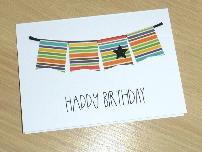 Happy Birthday Card Coloured Bunting Vicki G Madeit