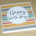Male Birthday card - coloured stripes
