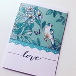 Love anniversary just because blank aqua teal bird pearls scallop card