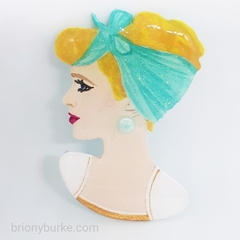 Hand Painted Pinup Portrait Brooch