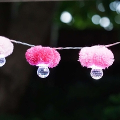 Fairy Lights pom pom handmade; Pink; string of lights;LED Battery operated