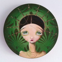 Emerald , wood panel original painting. Green and gold