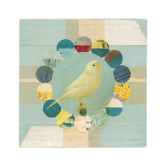 "Canary Circles, collage - ART PRINT 9""x9"" (also available in other sizes)"
