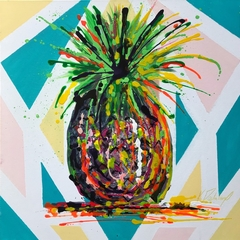 "Pop art,abstract ""Pineapple"" 18x18"" on canvas"