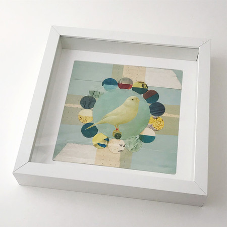 """Canary Circles collage - FRAMED art print 9""""x9"""" white square frame"""