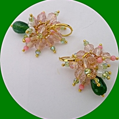 Pink Quartz, natural coral, green Chrysolite and white shell earrings