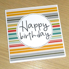 Male Birthday card - coloured stripes