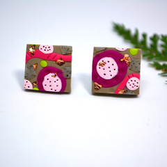 Square Polymer Clay Studs  Earrings Flower Abstract Design Blackwood Lily