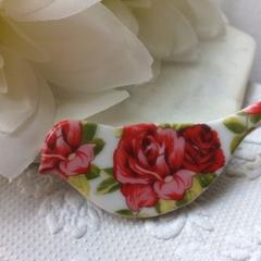 Vintage Rose Ceramic Brooch
